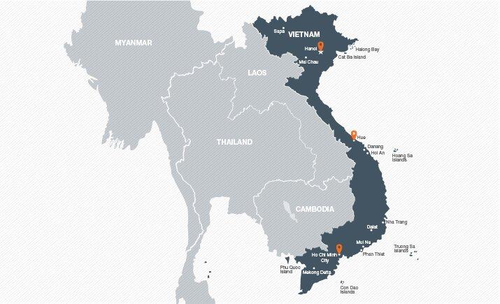 Mapa de los mejores lugares para visitar durante su viaje a Vietnam