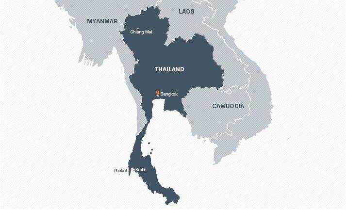 Mapa con los mejores destinos de Tailandia