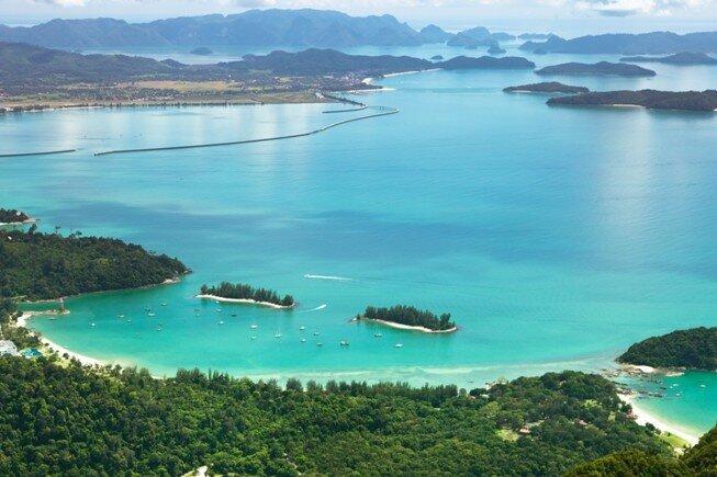 Vista panorámica de playa Langkawi